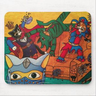 Halloween Medieval Knight Costume Cats Mouse Pad