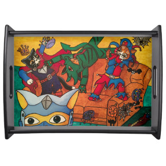 Halloween Medieval Knight Costume Cats Serving Tray