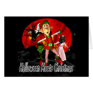 Halloween meets Christmas - Elf running away Card