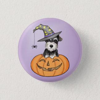 Halloween Miniature Schnauzer 1 Inch Round Button