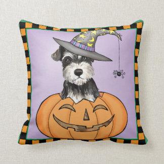 Halloween Miniature Schnauzer Throw Pillow