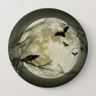 Halloween moon - full moon illustration 4 inch round button