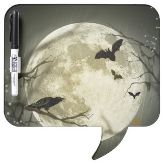 Halloween moon - full moon illustration dry erase board