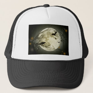 Halloween moon - full moon illustration trucker hat