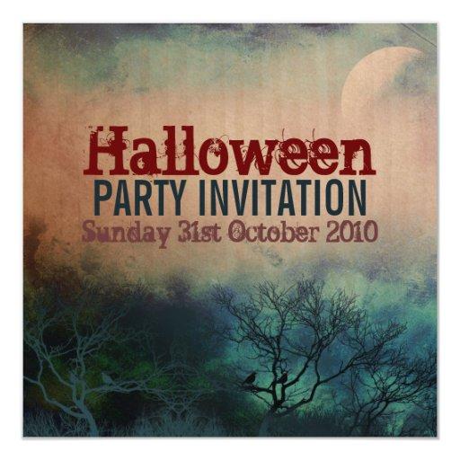 "Halloween Moon Grunge Invitation 5.25"" Square Invitation Card"
