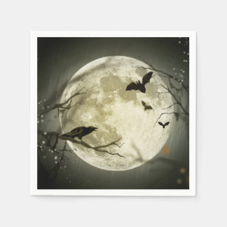 Halloween Moon Spooky Crows Disposable Napkin