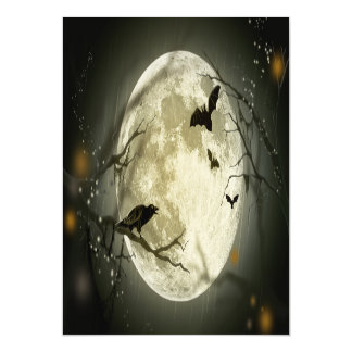 Halloween Moon Spooky Crows Magnetic Card