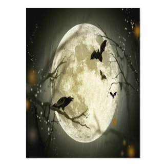 Halloween Moon Spooky Crows Magnetic Invitations