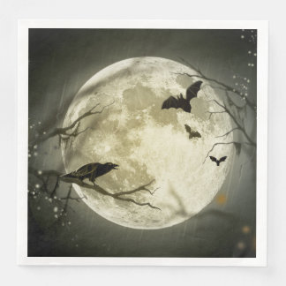 Halloween Moon Spooky Crows Paper Dinner Napkin