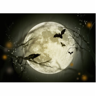 Halloween Moon Spooky Crows Photo Sculpture Button