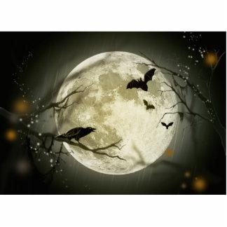 Halloween Moon Spooky Crows Photo Sculpture Keychain