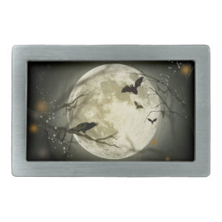 Halloween Moon Spooky Crows Rectangular Belt Buckle