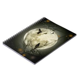 Halloween Moon Spooky Crows Spiral Notebook