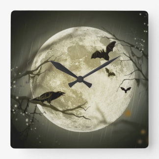 Halloween Moon Spooky Crows Square Wall Clock