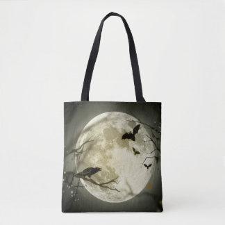 Halloween Moon Spooky Crows Tote Bag