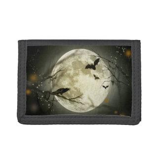 Halloween Moon Spooky Crows Trifold Wallets
