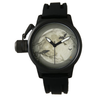 Halloween Moon Spooky Crows Wrist Watches