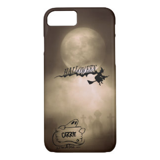 Halloween Moonlight Witch Ghost Graveyard Custom Case-Mate iPhone Case
