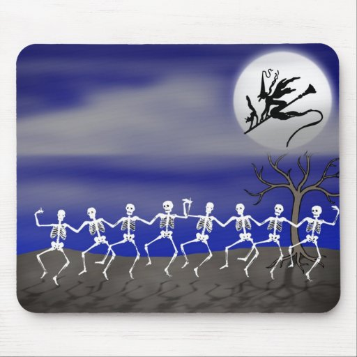 Halloween Moonlit Party Scene Mouse Pad