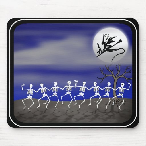 Halloween Moonlit Party Scene Mouse Pads