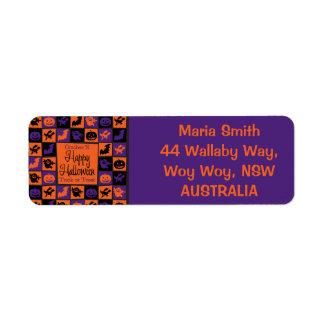 Halloween mosaic return address label