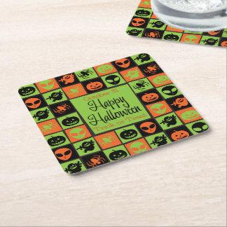 Halloween mosaic square paper coaster