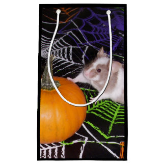 Halloween Mouse Gift Bag: Mouse with Pumpkin Small Gift Bag
