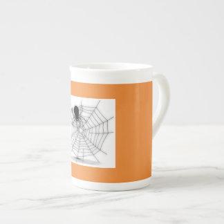 Halloween Mug Spider and Web Black Orange Holiday