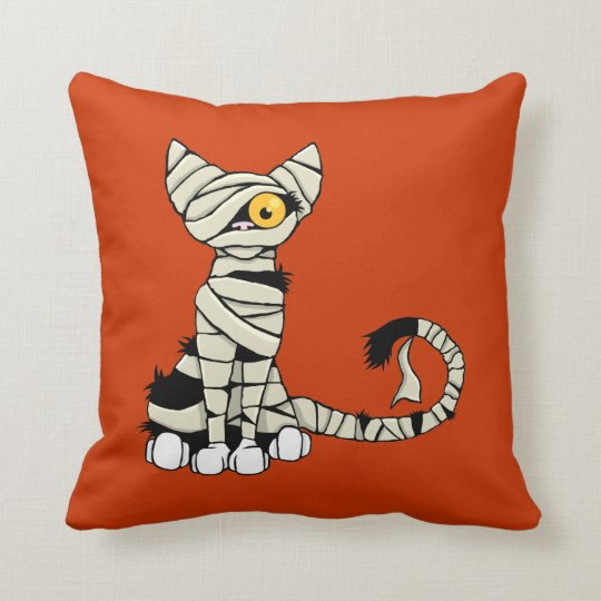 Halloween Mummy Cat Reversible Throw Pillow