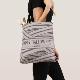 Halloween Mummy Stripes And Personalized Name Tote Bag