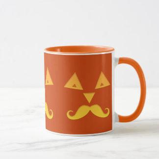 Halloween Mustache Pumpkin mugs
