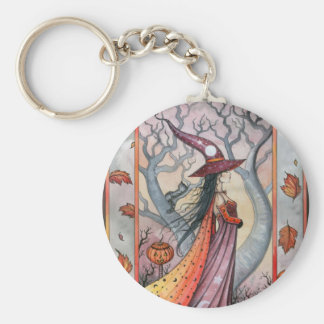 Halloween Mystic Witch by Molly Harrison Keychain