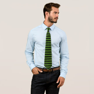 Halloween Neon Green Black Striped Neck Tie