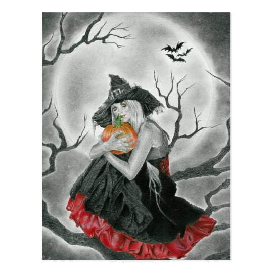 halloween night  witch postcard
