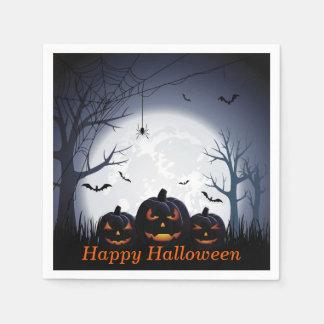 Halloween Night with Pumpkin & flying Bats Paper Napkins