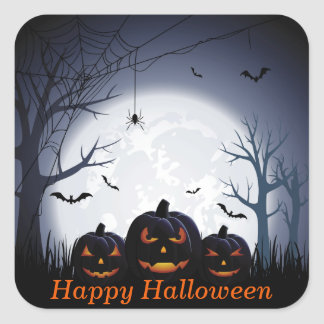 Halloween Night with Pumpkin Spider & flying Bats Square Sticker