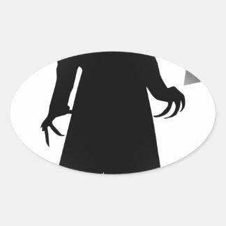halloween nosferatu oval sticker