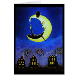 Halloween Note Card, black,cat,Jack-O-Lantern,moon Card