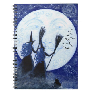 Halloween notebook, man in the moon,witches notebooks