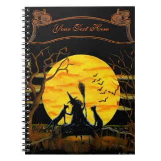 Halloween notebook, witch and black cats notebook