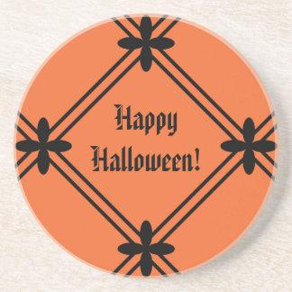 Halloween Orange and Black Pattern Beverage Coaster