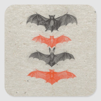 Halloween Orange Black Bats Vintage Gothic Party Square Sticker