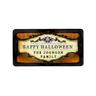 Halloween Orange & Black Skull Custom Treat Labels