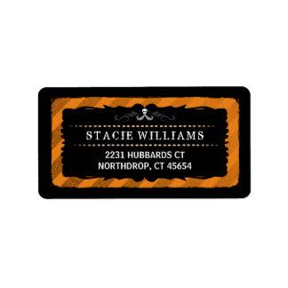 Halloween Orange Black Stripe Address Label