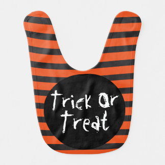 Halloween Orange Black Striped Trick Or Treat Bibs