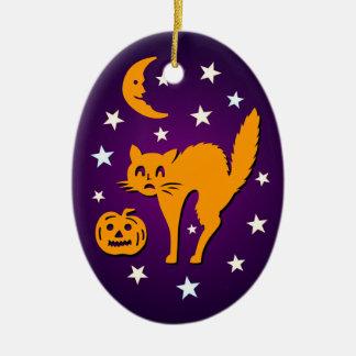 Hallowe'en Orange Cat Jack o Lantern Moon Ornament