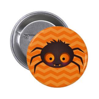 Halloween Orange Chevron Cute Spider Design 2 Inch Round Button