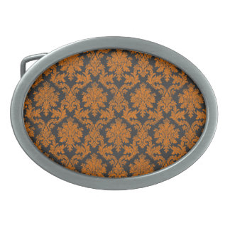 Halloween Orange Damask Chalkboard Pattern Oval Belt Buckle