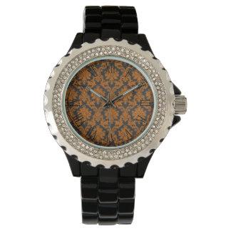 Halloween Orange Damask Chalkboard Pattern Watch