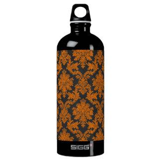 Halloween Orange Damask Chalkboard Pattern Water Bottle